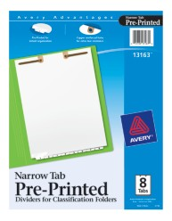 Avery® Preprinted Dividers for Classification Folders 13163, Packaging Image