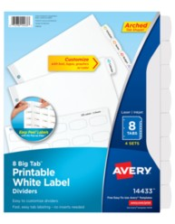 Avery Big Tab Printable White Label Dividers14433
