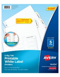 Avery Big Tab Printable White Label Dividers 14434