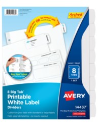 Avery Big Tab Printable White Label Dividers 14437