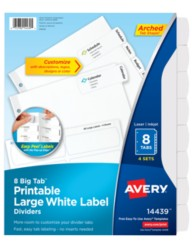 Avery Big Tab Printable Large White Label Dividers 14439