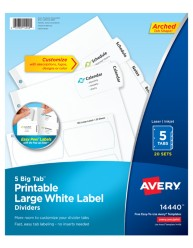 Avery Big Tab Printable Large White Label Dividers 14440
