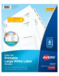 Avery Big Tab Printable Large White Label Dividers 14441