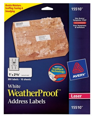 Weather Proof TrueBlock Mailing Labels 15510