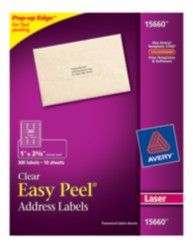 Avery Easy Peel Clear Address Labels 15660 Packaging Image
