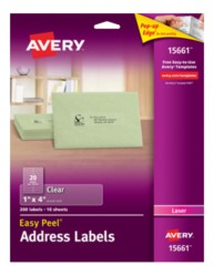 Avery® Easy Peel® Clear Address Labels for Laser Printers 15661, Packaging Image