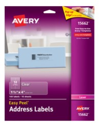 Avery® Easy Peel® Clear Address Labels for Laser Printers15662, Template Image
