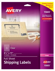 Avery® Clear Shipping Labels for Laser Printers 15665, Packaging Image
