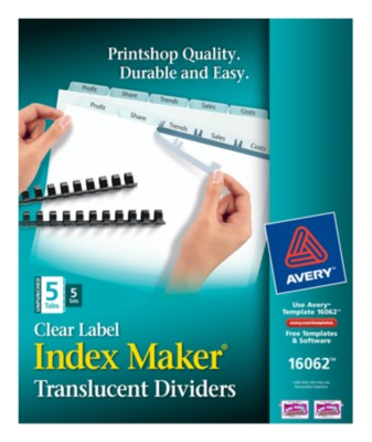 Index Maker Clear Label Translucent Unpunched Dividers 16062