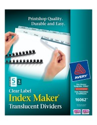 Index Maker Clear Label Translucent Unpunched Dividers 16062 Packaging Image