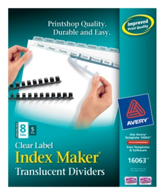 Index Maker Clear Label Translucent Unpunched Dividers 16063