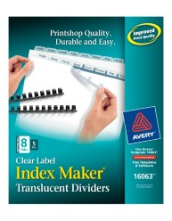 Index Maker Clear Label Translucent Unpunched Dividers 16063 Packaging Image
