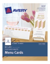 Avery® Textured White Menu Cards 16110, Packaging Image