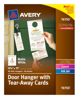 "Door Hanger with 2 Tear-Away Cards, White, 4.25"" x 11"", 40 Sheets 16150"