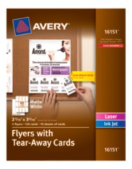 Avery® Flyers with Tear-Away Cards 16151, Matte White, Packaging Image