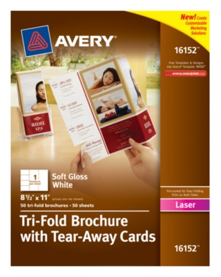 "Brochure with Tear-Away Cards, White, 8.5"" x 11"", 50 Sheets 16152"