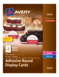 Avery® Adhesive Round Display Cards 16153, Matte White, Packaging Image