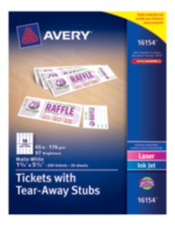 Avery® Tickets with Tear-Away Stubs 16154, Packaging Image