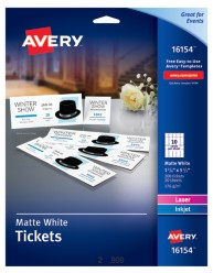 Avery white matte tickets with tear away stubs for Avery event ticket template