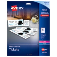 avery white matte tickets with tear away stubs