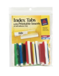 Index Tabs, Self Adhesive with Printable Inserts