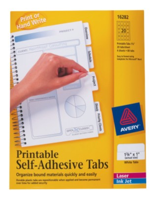 Printable Tabs, Self-Adhesive 16282