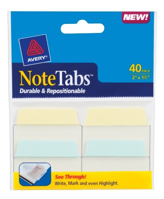2x1.5 NoteTab Pastel Blue Pastel Yellow 40 Pack 16310