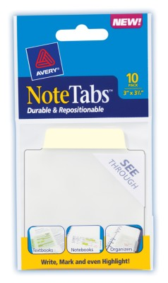 3x3.5 NoteTab Pastel Yellow 10 Pack 16326