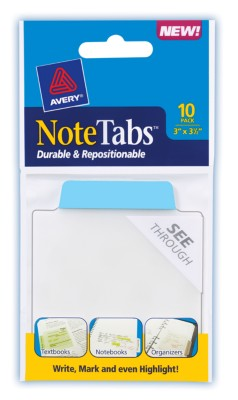 3x3.5 NoteTab Neon Blue 10 Pack 16327