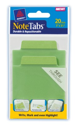 3x3.5 NoteTab Cool Green 20 Pack 16329