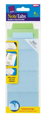 3x7.5 NoteTab Perforated Cool Assorted 6 Pack 16332