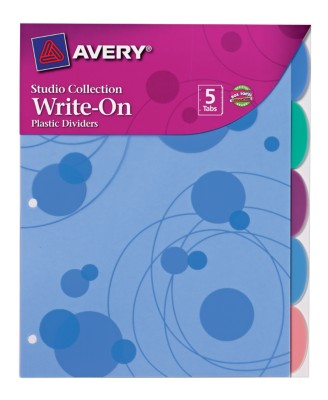 Studio Collection Write On Tab Dividers, Bubbles Design, 5 Tabs 17172