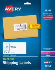 "Avery® White Shipping Labels18163, 2"" x 4"", Packaging Image"