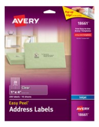 Avery Easy Peel Clear Address Labels 18661 Packaging Image