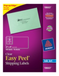 Avery Easy Peel Clear Shipping Labels 18663 Packaging Image