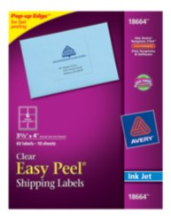 Avery Easy Peel Clear Shipping Labels 18664 Packaging Image