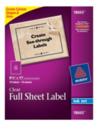 Avery Clear Full Sheet Labels 18665 Packaging Image