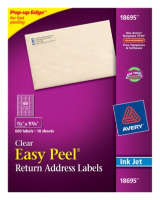 Easy Peel Clear Return Address Labels 18695