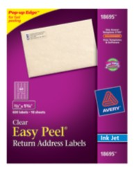 Avery Easy Peel Clear Return Address Labels 18695 Packaging Image