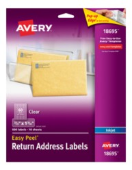 Avery easy peel clear return address labels for Avery 18695 template