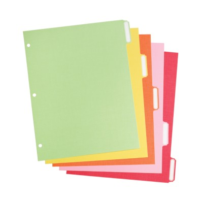 MSHO Standard Size 5Tab Paper Write on Tabbed Dividers with Classic Tab.Bright multi colored tabs. 21121