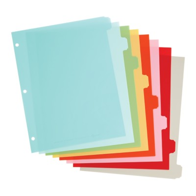 MSHO 8-Tab Plastic Write-On Dividers, Multi-Color, Classic Tab Shape 21125