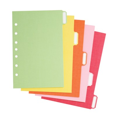 "MSHO Mini 5.5"" X 8.5"" 5-Tab Paper Dividers, Classic Tab Shape, Assorted Bright, Multi-Colored Tabs. 21127"