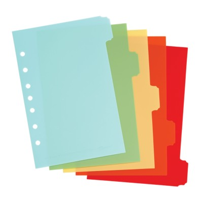 "MSHO Mini 5.5"" X 8.5"" 5-Tab Plastic Write-On Dividers, Bright Multi-Colors, Classic Tab Shape 21128"