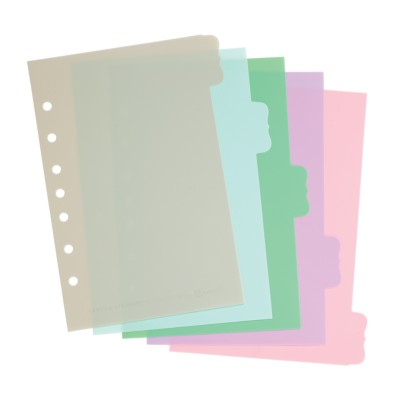 "MSHO Mini 5.5"" X 8.5"" 5-Tab Plastic Write-On Dividers, Pastel Multi-Colors, Flourish Tab Shape 21129"