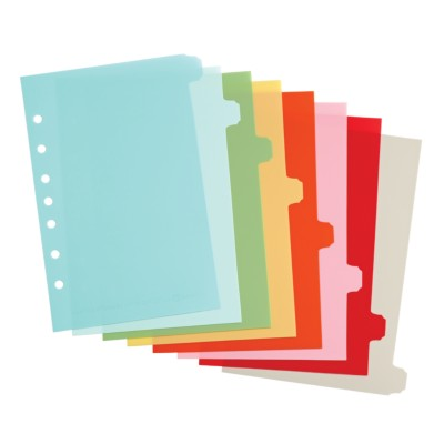 "MSHO Mini 5.5"" X 8.5"" 8-Tab Plastic Write-On Dividers, Bright Multi-Colors, Classic Tab Shape 21133"