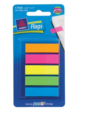 "Flags 1/2"", Bright Colors, 5-Pack, 20 Flags/Pad 22550"