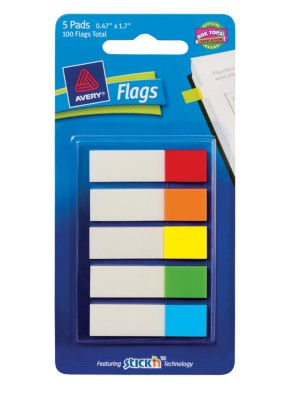 "Flags 1/2"", Standard Colors, 5-Pack, 20 Flags/Pad 22569"