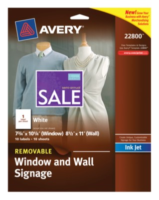 "White Removable Window and Wall Signage, InkJet, 8-1/2""x11"", 1up, 10 sheets 22800"