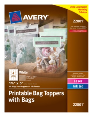 Printable Bag Toppers with Bags, Laser/InkJet, 4up, 10 sheets 22801
